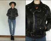 Vintage 60's Excelled Leather Motorcycle Rocker Black Belted Biker Jacket M L