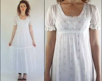 Vintage 70's Floral Embroidered Cotton Butterfly White Boho Preppy Tiered Maxi dress XS S