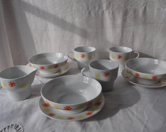 Atomic Era Paul McCobb Sparkler China Breakfast Set for Three/Vintage 1960s/3 Cups and Saucers, 3 Bowls, 1 Creamer/White Orange Yellow