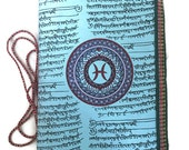 Pisces Journal, Junk journal, Zodiac diary, Pale Blue diary, Art journal,Horoscope Gift, Feb Birthday Gift, Yoga journal, Writing book