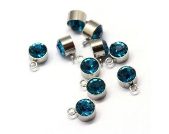 Rhinestone Charms, 316 Stainless Steel Findings, Flat Round, Blue Zircon 10 pcs