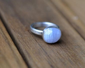 xX 25% SALE Xx Sterling Silver Blue Lace Agate Ring, Oxidised Sterling Silver Stacking Ring, Rustic Gemstone Metalwork Ring