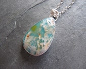 RESERVED. Pendant of Regency Plume Agate, Turquoise, in Silver with Bird
