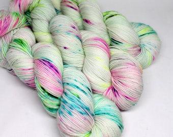 Hand Dyed Speckled Sock Yarn - SW Sock 80/20 - Superwash Merino Nylon - 400 yards  - Crybaby