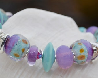 SWEET DREAMS-Handmade Lampwork and Sterling Silver Bracelet