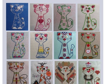 Whiskerkins Cat Cross Stitch Patterns, All 12 Monthly Designs, PDF Download, Carolyn Manning Designs