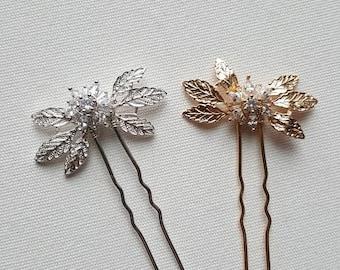 Wedding Hair Pins, Bridal Hair Pins, Gold Leaf Wedding Hair Pins, Wedding Headpiece, Gold Hair Pins