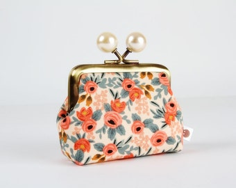 Metal frame coin purse with color bobbles - Rosa peach - Color mum / japanese fabric / Cotton and Steel / green red caramel peachy pink