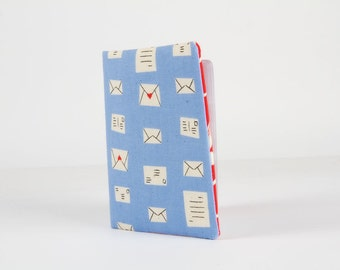 Fabric card holder - Notes in blue / Cotton and Steel / Japanese fabric / Rashida Coleman Hale / swallows / Bluebird / Red / blue letters