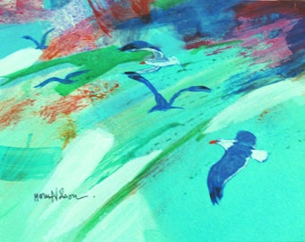 Abstract Coast, Gulls Flying, Original Painting, Contemporary Art, Modern Bright Colors, Turquoise Coast, Modern Art, Small Painting, 6 x 8