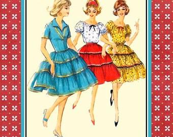 Vintage 1964-SQUAW DRESS-Sewing Pattern-Three Styles-Peasant Blouse-Ruffle Skirt-Wing Collar-Decorative Trim-Rick-Rack-Uncut-Plus Size-Rare