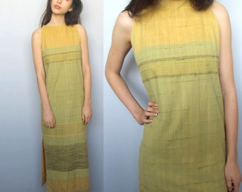 getaway -- vintage 60s hand woven Mexican column dress XS/S
