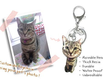 Customized / Personalized Pet Big head Keychain / Pet memorial gift / Pet Jewelry / personalised / Dog  / Cat / Pet Loss / Cat Lover / gifts