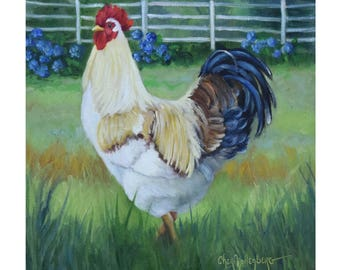 Rooster Painting,Rooster III,Rooster With Hydrangea In Background,Beautiful Feathers, Original Oil Painting On Canvas by Cheri Wollenberg