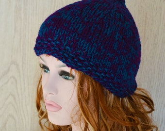 Large Size Knitted Pixie Hat  Hat Elf Chunky Ready to Ship Winter Hat