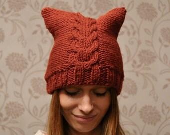 Rust Cat Hat Womens Chunky Knit Beanie