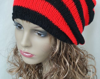"""Red and Black Stripey Slouch Hat, Hand Knitted, Skater, Vegan, Slouchy Beanie, Tam Hat, Dreads 22"""" - 24"""""""