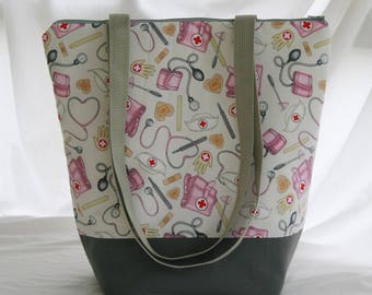 Tossed Nurse Supplies- Insulated Lunch Bag-Tote-Washable-Water and Mildew Resistant Interior -Extra Large-Tall Size