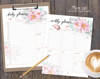 Printable DAILY and WEEKLY PLANNER sheets, Personal Productivity planners, digital download, activity organizing, print-it-yourself, ArtCult