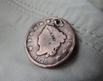 antique love token coin one penny 1826