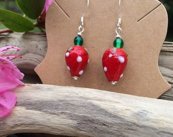 strawberry earrings summer berry earrings strawberry charm farmers market summer jewelry red jewelry gift for her gifts under 20 for farmer