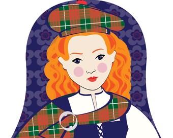 Scotswoman Wall Art Print with culturally traditional dress drawn in a Russian matryoshka nesting doll shape