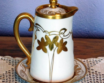 Vintage Antique Pickard China Gold Gilt Hand-Painted Chocolate Pot w/ Under Plate - Delinieres & Co, Limoges France Porcelain - Early 1900s