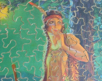 "Vintage Wooden Jigsaw Puzzle ""Indian Love Call"" Lithograph by Edward Eggleston - 135 Interlocking Pieces - 8 x 10 - 1930s Native American"