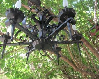 Vintage Exceptional Black Wrought Iron Large Gothic 6 Light Hanging Ceiling Electric Chandelier Fixture