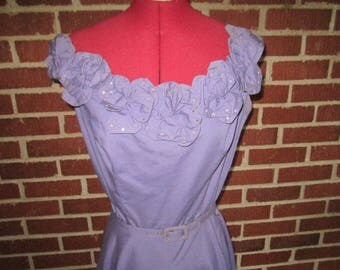 Vintage 1950s Parnes Feinstein Original Summer Lavender Cotton Party Dress with Rhinestone Studded Floral Neckline