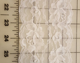 """Delicate 3-3/4"""" Wide White double Scallop Lace BTY"""