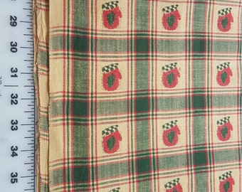 Homespun Christmas themed Plaid Red Green Mitten Cotton BTY