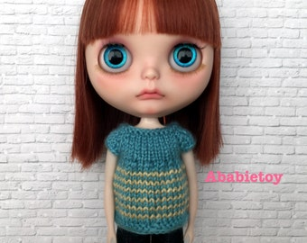 Teal with yellow stripe short sleeves sweater for Blythe