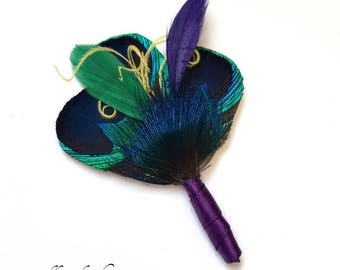 Mardi Gras Peacock Feather Boutonniere in Blue, Purple, Gold and Green for Mardis Gras