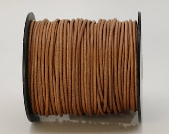 5 feet Natural Leather Brown Leather Cord - 2mm Genuine Leather Round Cord (24) - USA Seller
