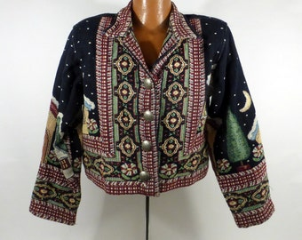 Ugly Christmas Sweater Vintage Cardigan Jacket Painted Pony size Small