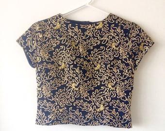 Black and Gold Brocade Crop Top