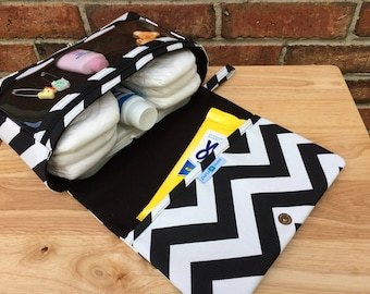 New and larger black chevron diaper bag, baby gift for new parents, diaper purse, nappy bag organizer, diaper clutch with clear zipper pouch