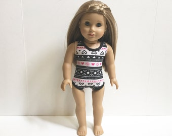 Pink and Black Love Swimsuit for 18 Inch Doll