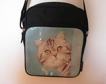90s black blue cat print nylon shoulder bag - SMALL MINI cat lovers purse - HIPSTER cross body bag - retro vintage tote - gift for friend