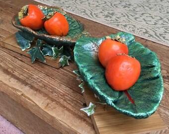 TABLETOP BASE (Medium Leaf) - Ring, Change or Key Bowl in Winter and Concrete leaf Birdbath (on a pole) in Spring