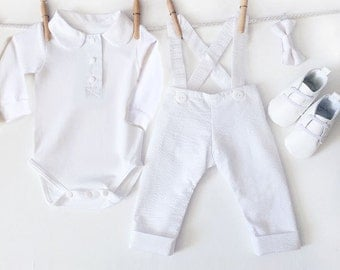 Baby Boy Winter Warm Christening Outfit, 4 Piece White Baptism Outfit, Infant Christening, Baptismal Outfit, Baby Boy Baptism Dedication