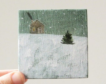 winter cabin/ original painting on canvas