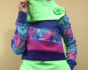 15% OFF SALE Hoodie Sweatshirt Sweater Handmade Recycled Upcycled One of a Kind RADIOACTIVE Ladies Small - Neon 80s Retro Color Block Pocket