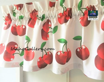 Big Cherries Short Valance Custom Possibilities Summer Curtain Window Treatment by Idaho Gallery