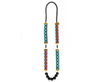 Designer necklace, statement necklace, designer jewelry, long necklace, aztec print,pink necklace,festival jewelry,ibiza style,ibiza jewelry