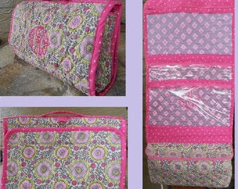 Hanging Cosmetic Tote * Quilted * Toiletry Bag * Organizer Bag * Makeup Bag * Monogrammed