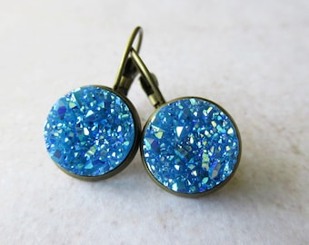 Sky Blue Faux Druzy Drop Earrings in Antique Brass