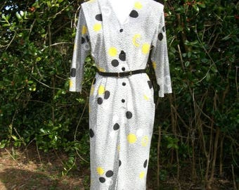 ON SALE 80s Polka Dot Dress size Medium Black White Yellow Pebble Print Wiggle Dress
