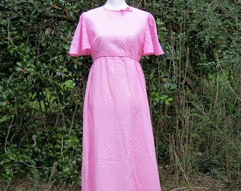 ON SALE 60s Pink Dotted Swiss Maxi Dress size Medium Large Flutter Sleeves